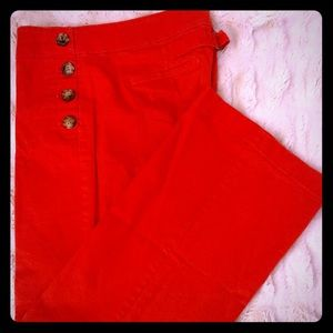 Ann Taylor Loft Orange/Coral Side Button Pants